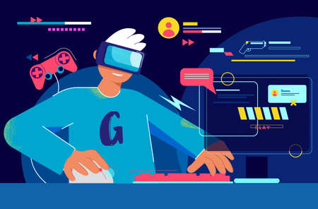 Gamer on pc leads online stream illustration. Esportsman wearing virtual reality glasses broadcasts from his account passage of new game digital tournament of vector entertainment. Çizim