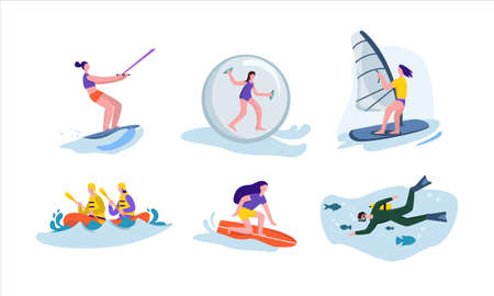 Active water sport set. Character rides on water board engages in extreme windsurfing diving fun team kayaking in rapid current jumping inside larger inflatable vector ball.