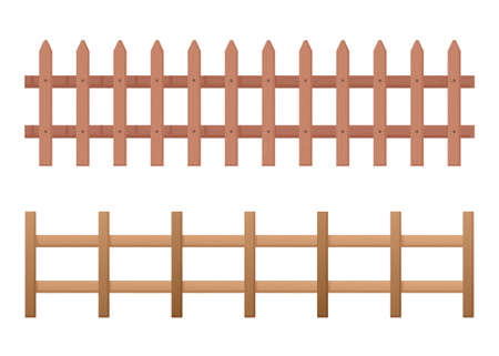 Wooden fence horizontal. Rustic fence from fresh planks palisade farmland barrier protection of yard and beds security pastures and flower zonescolorful architectural retro cartoon vector design. Çizim
