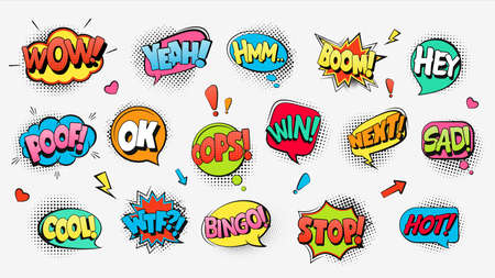 Comic book text speech bubbles. Funny explosive cloud banners with shouts warnings stylish comic design communication chat collection of multicolored cheerful dialogues art speech vector expression.