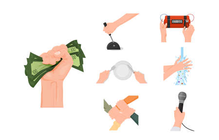 Hands performing actions set. Hand squeezes pack of green hundred dollar bills holds knife and fork sets plastic explosives carefully rinses with soap holds vector microphone. Illusztráció