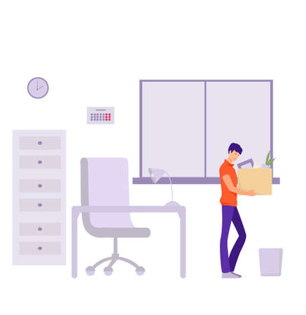 Dismissal of an office worker Illustration. Sad character with his work things leaves office problems with crisis end of his career financial flat default and vector reduction. Illustration