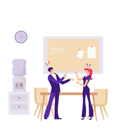 Conflict between office workers illustration. Negative attitude inteam nervous manager aggressively argues with employee gossip and discrimination in team bullying and vector hatred at work.