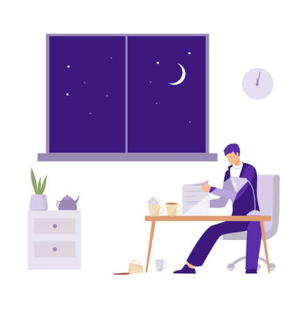 Overtime in the office illustration. Male character with cups of coffee modifies the documentation for delivery financial deadline processing over flat rate tired vector excitement. Illustration