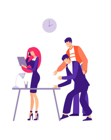 Office harassment problem illustration. Two male worker characters are trying to grossly pester girl employee gender issues and racial humiliation depressive working vector moments.