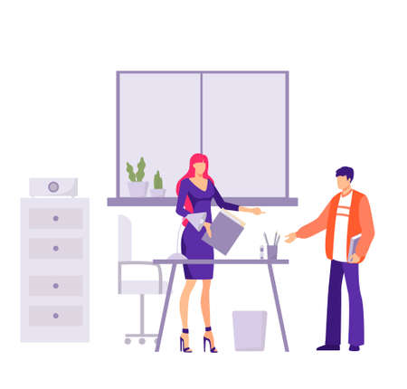 Verification financial commission in office illustration. Female character auditor records documentation in company collects and records statistics regulates vector bookkeeping.
