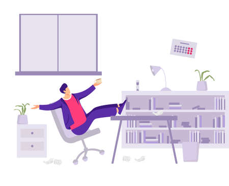 Worker loafer in office illustration. Male character lounges while working mediocre employee who does not fulfill companys plan poor deadline conditions unproductive vector activity.  イラスト・ベクター素材
