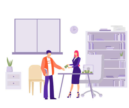 Salary issue in office illustration. Female character accountant gives bundle of money to an employee company payment of premiums and overtime for processing hours vector flat payment.