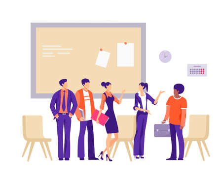 New office employee illustration. Group of workers characters are greeted with new friends candidacy friendly atmosphere in business team well coordinated flat vector work.