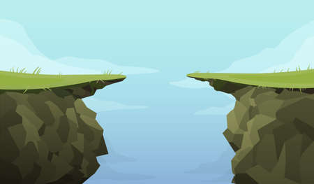 Ledge chasm empty template. Cliff in middle of green covered road banner deep dangerous abyss an extreme decision motivation decisive last jump cartoon graphic vector fear of inevitable. Vecteurs