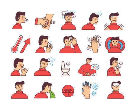 Symptoms of disease icons. Strong coughing character weather surges in pressure vomiting and diarrhea in case poisoning frostbite fingers palpable itching in body coronavirus with vector temperature.