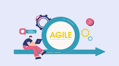 Agile team management concept. Business plan for clever intuitive process high quality strategy of company employees professional engineering and analytics innovations in vector advertising.