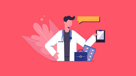 Doctor with prescription illustration. Physician gives recommendations on treatment and prevention of coronavirus professional presentation of vector healthcare developments.