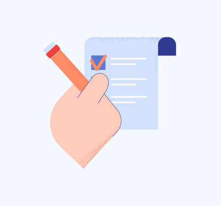 Hand with list in questionnaire. Right choosing answer in social statistical referendum stylish black pen for ticking vector right sentence of business presentation.