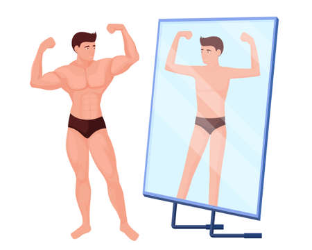 Reflection in mirror of a man no muscles. Male bodybuilder character with pumped up muscles is reflected in mirror as thin and weak concept of vector desire being passed off as reality.