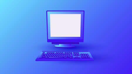 Gradient old error computer. Retro pc on blue background classic monitor and system equipment from the 80s and 90s. flat block gaming working vector. Stock Illustratie
