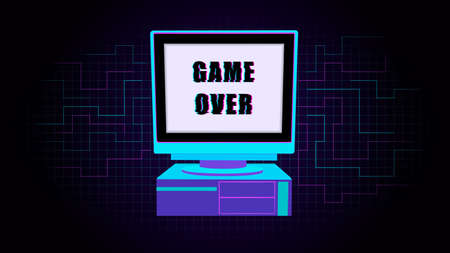 Glitch old personal computer. Retro pc with distorted inscription game over system vector equipment from the 80s and 90s flat block gaming working .