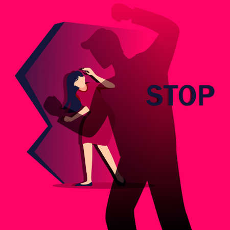 Stop bulling and oppression of women illustration. Suppression of abuse of harassment and violence against weaker sex depression and pain girls bullying of men under tacit vector consent. Vectores