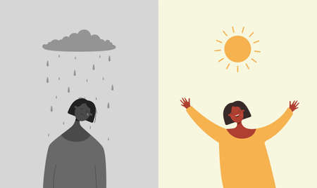 Sun is happy rain sad illustration. Character is sad when it rains and depressive weather rejoices when sun shines brightly two bipolar flat opposites psychological vector mood swings.