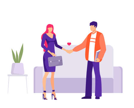Love at work office affair concept. Man and woman characters holding hands employees in romantic relationships workers vector falling in love flirting and dating at workplace flat.
