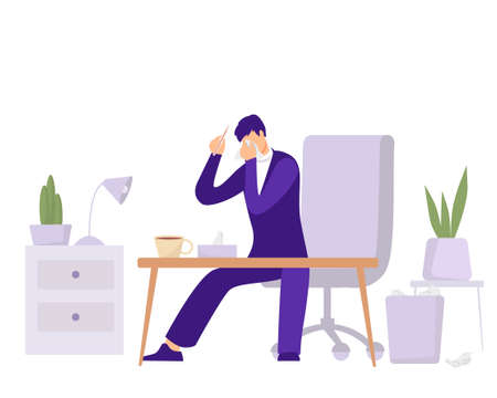 Employee illness in office illustration. Character with thermometer and runny nose is trying to work in his office an attempt to turn deadline when he feels unwell modern vector business days.