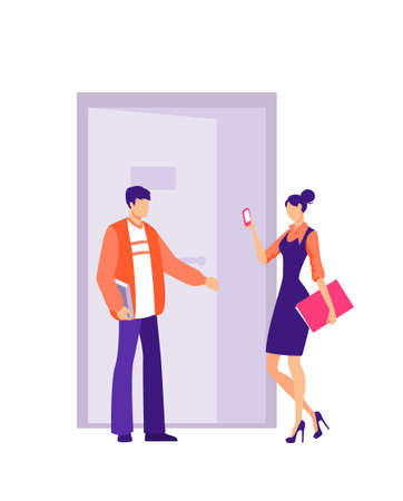 Employee opens and holds door in office. Polite male character holds door for girl employee friendship and mutual understanding in workplace warm relations in vector company.