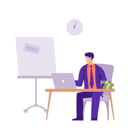 Boss of company in office. Male character in business purple suit sits laptop with bundles of money calculating financial profit for month preparing for issuance of vector salary to employees.