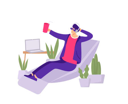 Vacation in office illustration. An employee imagines himself on tropical beach while sitting at work in an armchair non selling dreams of rest dreams of full fledged vector vacation. Vectores
