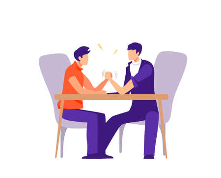 Business and career competition illustration. Conflict and confrontation on work colleagues competitors vector arm wrestling at desk struggling and trying defeat flat opponent in fight Vectores