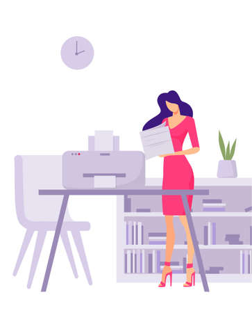Printout of documents office illustration. Female character worker prints financial business documentation preparation for delivery of an annual project accounting vector flat costs.