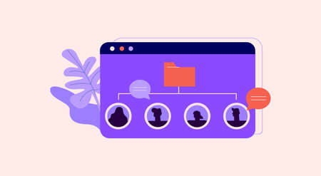 Customer base illustration. List of clients in extensive crm system marketing communication interaction team sales strategy flat development loyal vector partners analytics of negotiation processes. Illustration