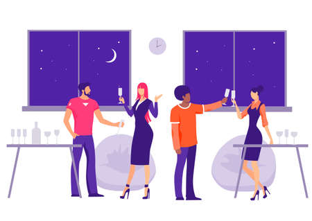 Corporate party in the office Illustration. Characters with glasses celebrate companys birthday joyful night fun comfortable business flat area for relaxation and vector entertainment.