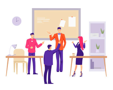 Sole office in company illustration. Group of characters employees company in a small mess discuss development of new company beginning development vector career. Vectores