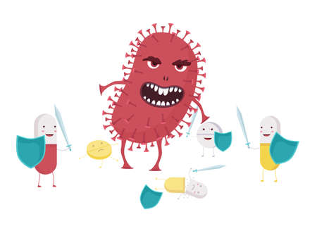 Evil bacterium with antibiotic resistance illustration. Red monster coronavirus destroys pills with shields and swords dangerous biological threat to bodys flat resistant vector microorganism. Vectores