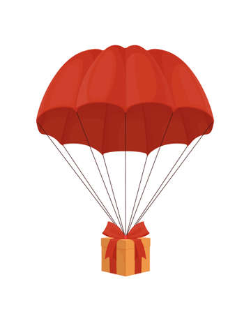 Gift box on a parachute. Surprise with red ribbon descends from sky under an elegant dome festive birthday delivery delivery of special New Years gifts stylish colorful vector packaging.