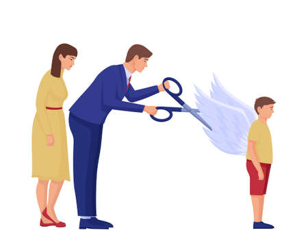 Parents cut wings to child illustration. Two characters clip off wings of hope for their son with scissors shattered dreams and careers suppressing free ideas and vector thoughts.