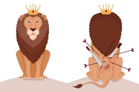 Hard to be lion king illustration. Proud animal king with crown stab in back his back pierced arrows and swords courageous character who does not recognize pain while climbing career vector ladder.