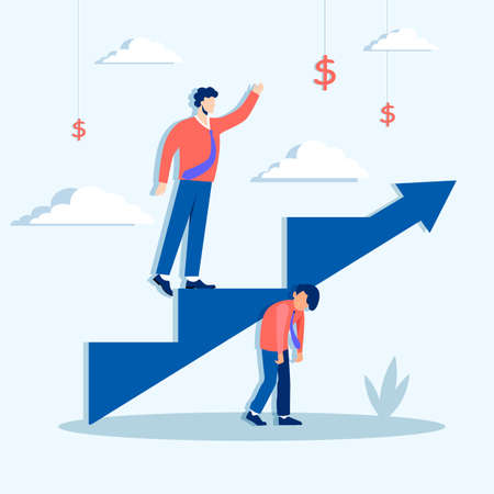 Climbing ahead of career ladder concept. Lets rise to financial business success at expense of their colleagues successful character rises fame along vector arrow standing on shoulders of friend.