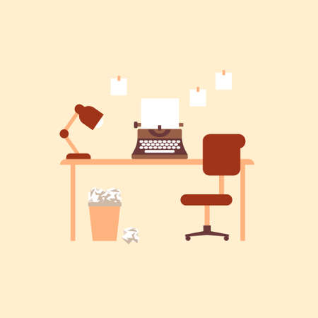 Writers desk with typewriter. Retro printing equipment with blank sheet comfortable chair and lamp on table trash can full of wasted crumpled paper creative mechanical vector journalism.