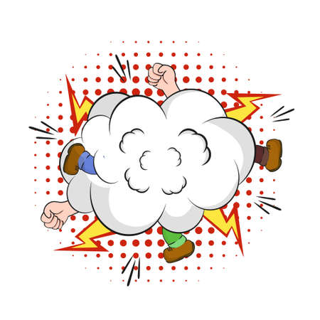 Fight in cloud of smoke. Comic fierce battle hands and feet peeking out of ball of dust expression of collision and cartoon conflict explosive vintage vector bubble.