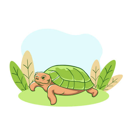 Turtle resting on lawn. Relaxed old animal with green shell dozing calmly in sunny meadow enjoyable after dinner rest natural vector design. Vectores