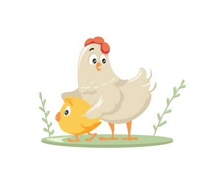 Chicken protects cartoon chick. Caring red combed poultry hen takes its yellow chick away from danger love and motherhood under safe vector wing. Illustration