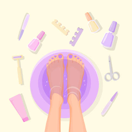 Foot pedicure illustration. Female feet in pelvis and set of items for spa procedures healthy hygiene of cosmetology and relaxation beauty and vector nail treatment. Illustration