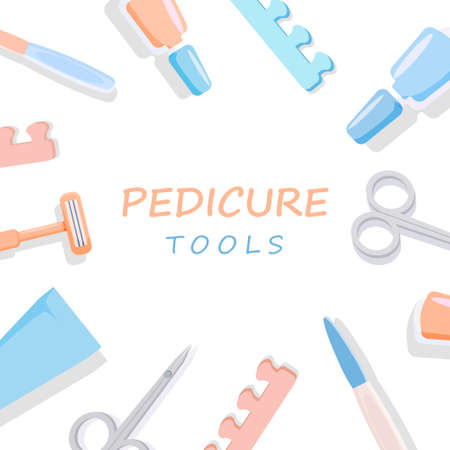 Tools for pedicure and manicure. Stylish scissors and files for nail care beauty and hygiene in cosmetology relaxing dermatological treatments and relaxation beauty vector nail treatment.