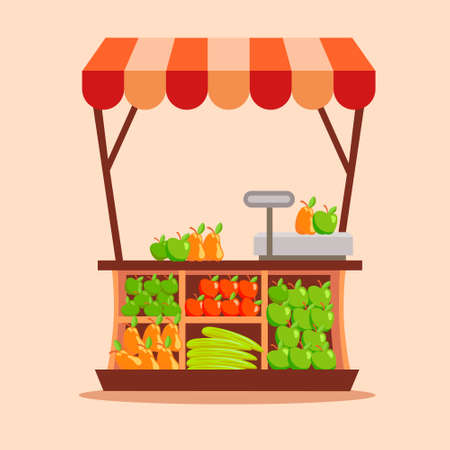 Fruit trade stall. Outdoor stand with canopy and fresh vegetables organic trade fair tent new harvest farm food business open commerce in fresh air vector.
