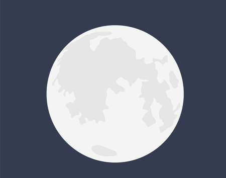 Full white moon. Heavenly bright satellite with surface craters astrological round sphere realistic space design on dark night sky close up image at maximum vector zoom.