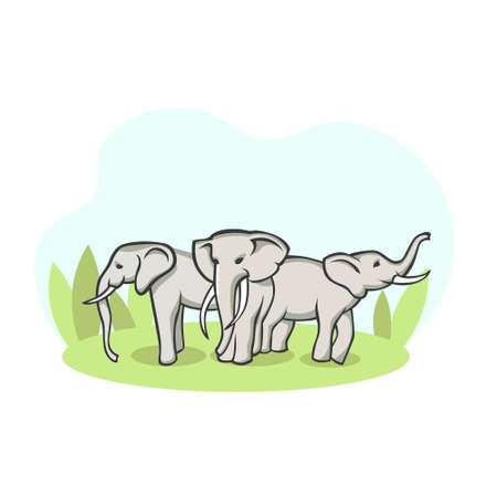 Herd of elephants in meadow. Group of wild animals stand on green pasture blooming landscapes of kenyan savannah natural open vector world. Illustration