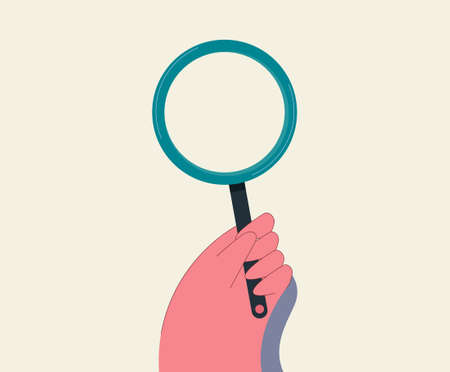 Hand with magnifying glass. Magnification and study of small characters and text detective investigation of minor details viewing technological vector process.