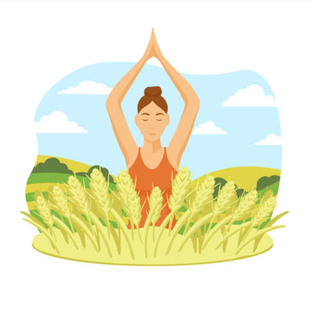 Girl doing yoga in nature illustration. Female character meditates with her hands up good relaxation and well being against background of green vector meadows grass and yellow ears wheat.