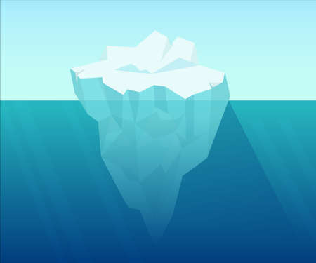 Iceberg in ocean. Underwater block of ice floating from arctic cold compressed snow global climate warming northern water landscape huge white polygon on blue background vector water.